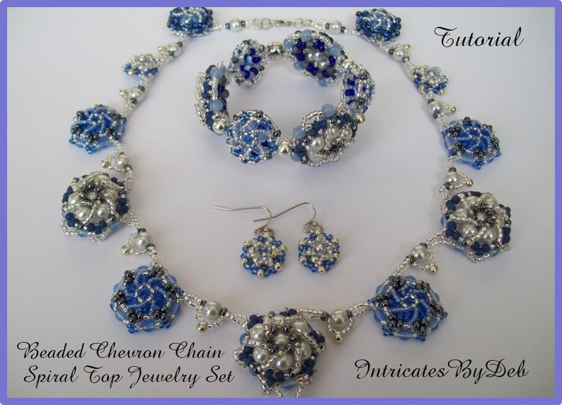 PDF Tutorial Beaded Chevron Chain Spiral Top Necklace Bracelet /& Earring Jewelry Download Beading Pattern Instructions Do It Yourself