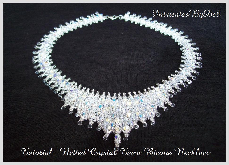 Bead Pattern Netted Crystal Bicone Tiara Necklace Tutorial Etsy Interesting Beaded Necklace Patterns