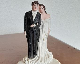 "Vintage 4"" Bride and Groom Wedding Cake Topper"