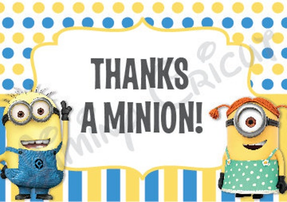 Minion Despicable Me Thank You Card Digital File Etsy