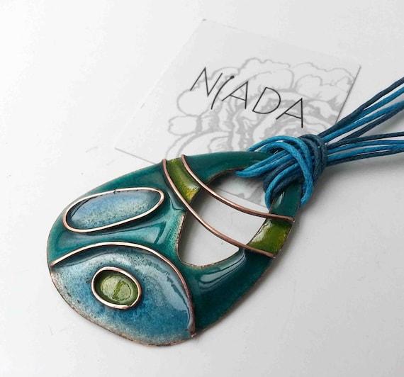 copper enamel butterfly wings blue necklace navy blue pendant Dark blue and light blue cloisonne jewelry cloisonne enamel pendant