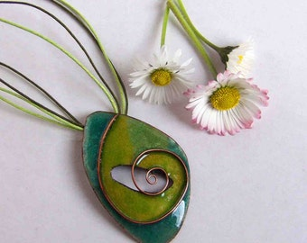 Lifespiral Cloisonne Enamel pendant in green and yellow colours Handmade enamel on copper pendant Bohemian necklace Green necklace