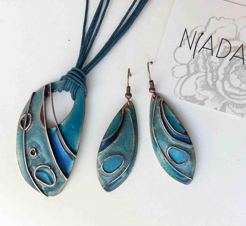 turquoise earrings blue necklace copper enamel lightblue jewelry blue pendant Blue and turquoise light blue cloisonne jewelry set