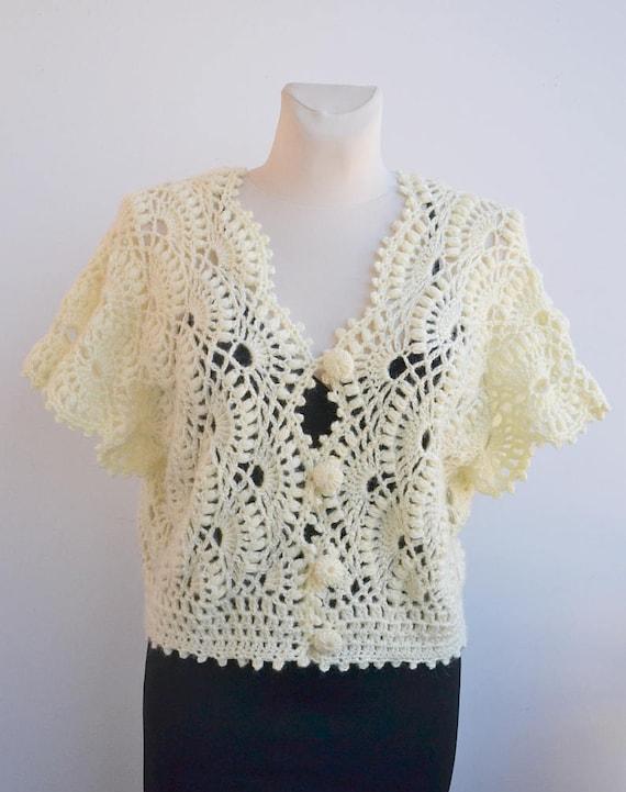 Bolero de novia Crochet encaje encaje boda tapa de crema | Etsy