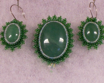 Brooch Green Aventurine with Matching Earrings