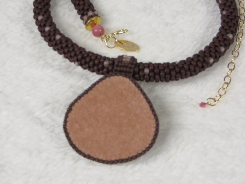 Necklace Crocheted Rope with Pink Rhodochrosite Pendant
