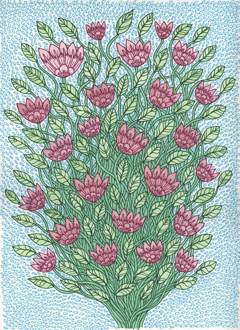 Flower Tangle Art Print , 8.5x11 Colorful Zentangle Flowers and Vines  Illustration by Amanda Lanford