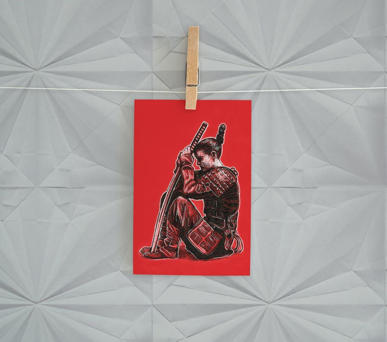 Red Samurai Girl Postcard Print  4 x 6 Sitting Female Warrior image 0