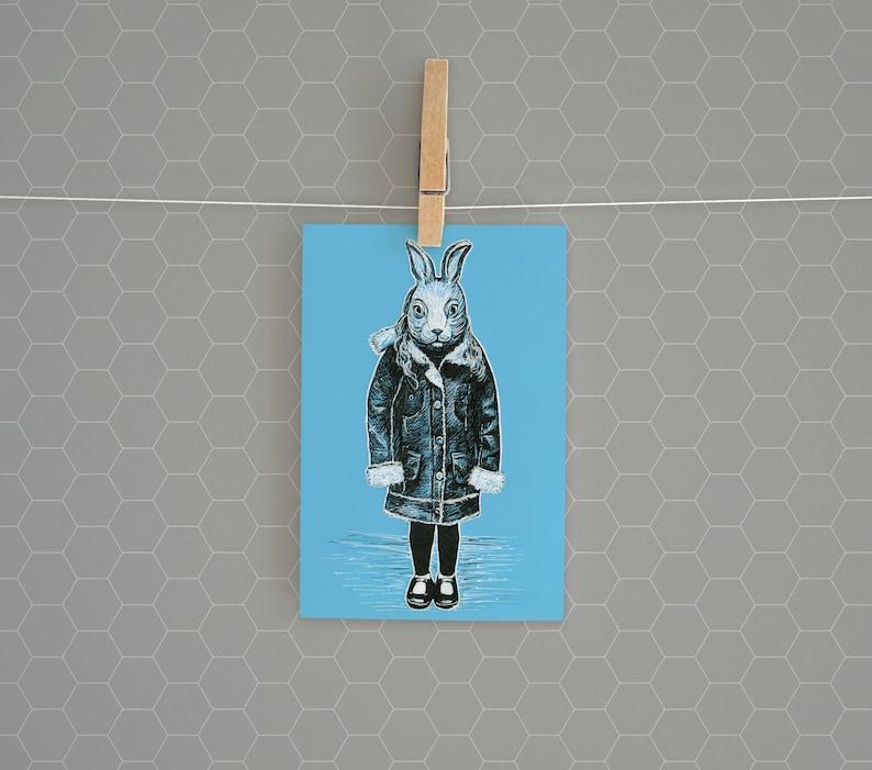 Blue Bunny Girl Postcard Print  4 x 6 Cute Winter White image 0