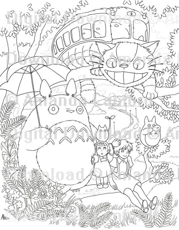 Studio Ghibli Coloring Book Digital Download Six Sheet Etsy