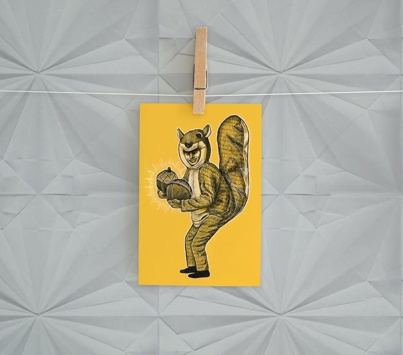 Yellow Squirrel Man Postcard Print  4 x 6 Weird Squirrel Nuts image 0