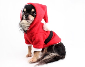 Santa Dog Hoodie, Warm dog Sweater, fleece dog hoodie for Christmas