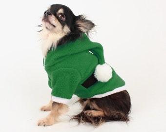 Santa Dog Costume, Warm small dog hoodie, Christmas Dog Sweater, elf dog coat