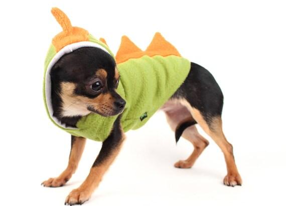 Dog Costume Dinosaur Spikes Orange fleece cute Hoodie Halloween costume for dogs