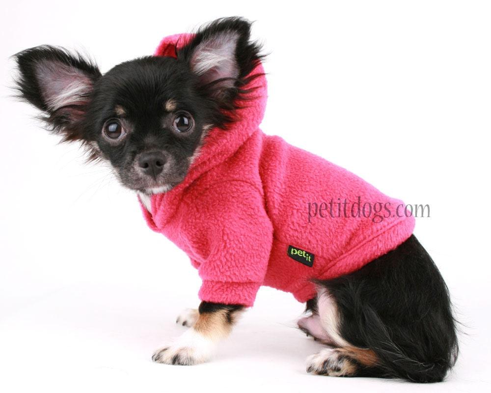 Dog Hoodie Hot Pink Polar fleece Dog Sweater