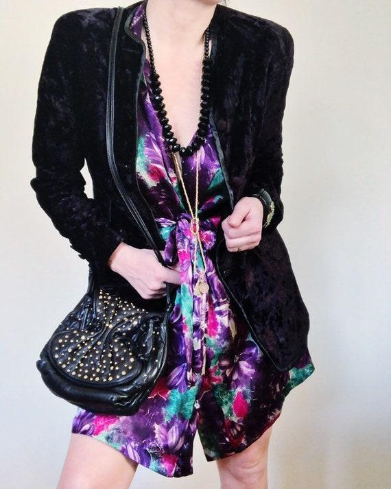 Vintage 80s black velvet blazer jacket coat rocker