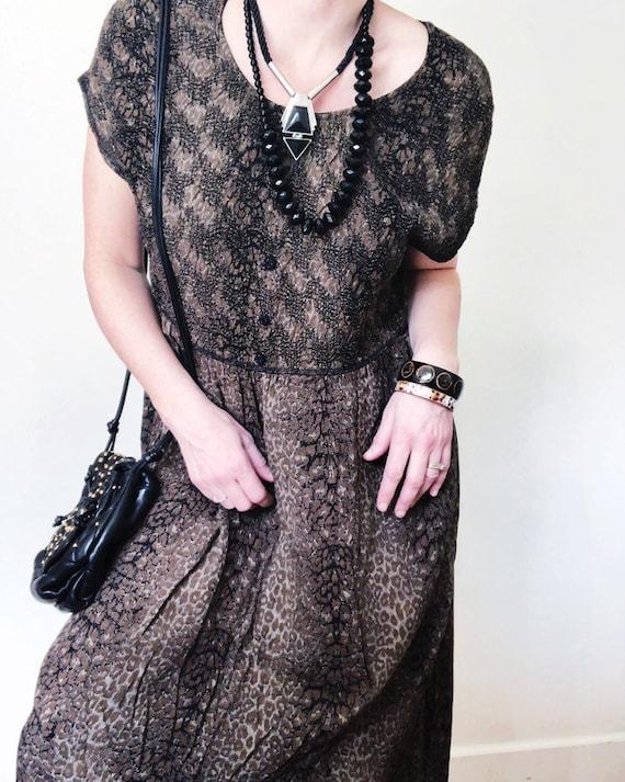 Vintage 80s/90s Carole Little brown leopard dress
