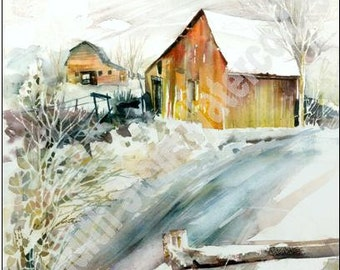 """Colorado Rocky Mountain Cabin, Rustic Barn, Fence, Original OOAK Landscape Watercolor Painting Picture, Wall Art, Home Decor, """"First Snow"""""""
