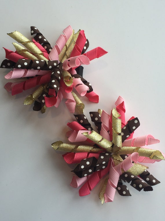 M2M Star de la montrer ensemble de Koker arcs importants, les filles, cheveux boucles, porter tous les jours, gymboree, marron, rose pâle, rose, or métallique, points lumineux