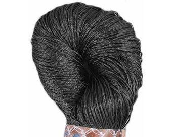 Viscose Silk Yarn: Shining, Superfine Lace weight, bright crochet yarn, color graphite gray grey. Yarn Ajur (055) Eq