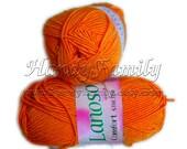 Bikini yarn swimwear Lanoso Comfort Stretch elastic springy stretchy yarn. Spandex. Bright carrot orange (934) Eq