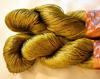 "Viscose Silk Yarn: Shining, Superfine / Lace weight, bright crochet yarn, color mossy green/old gold (161). Yarn ""ajur"". DSH"