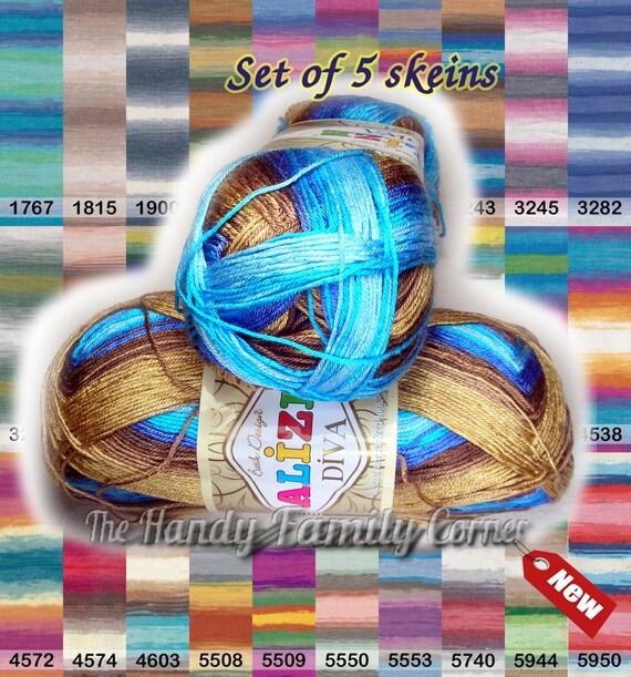 Lot Of 5 Skeins Alize Diva Batik Design Yarn With Silk
