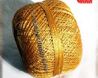 Hypoallergenic Viscose Silk summer yarn Yarn. Glamor, Superfine Lace weight, crochet yarn, color bright gold (124). Ajur ball. Eq