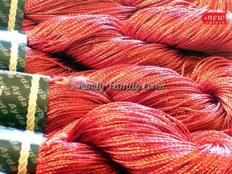Dark red colour Rayon Natural viscose yarn Artificial silk Summer yarn burgundy color Superfine  Lace Ayda Kordent sleek yarn