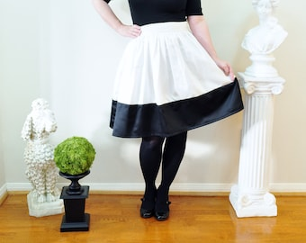 Black and Ivory colorblock Anne Skirt full gathered skirt classic retro and vintage 50's and 60's style also in plus size