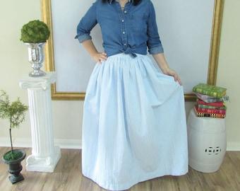 Blue Seersucker Midi Skirt, Knee Length Skirt or Maxi Ball skirt  full, gathered skirt custom made to order also in plus size