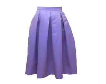Lavender Midi Skirt Pleated Duchess Satin skirt also in plus size custom made party skirt or bridesmaid skirt