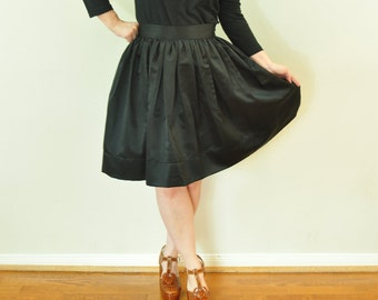 Black full gathered skirt in Matte Duchess satin with full, classic, preppy, retro and vintage style custom made to order also in plus size