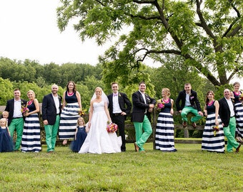 0cb1cfd5567 Striped Bridesmaid Skirt Long Navy and White or Black and white Custom made  also plus size