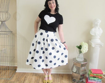 Navy and White Polka Dot Skirt Pleated, Midi with full, classic, preppy, retro and vintage style custom made to order also in plus size