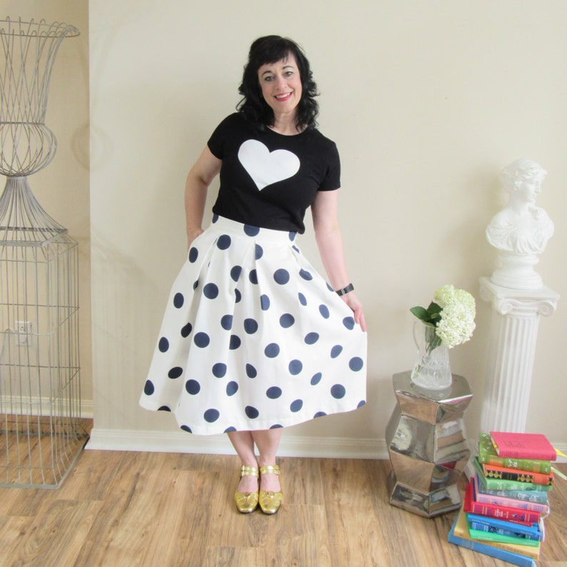 Navy and White Polka Dot Skirt Pleated Midi with full image 0