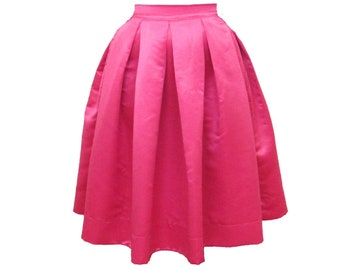 Pink Midi Skirt Pleated Duchess Satin skirt also in plus size custom made party skirt or bridesmaid skirt