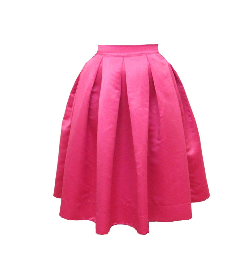 Pink Midi Skirt Pleated Duchess Satin skirt also in plus size image 0