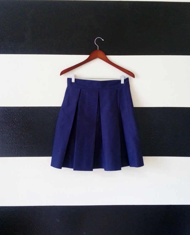 Navy Blue skirt Pleated Skirt with full classic preppy image 0
