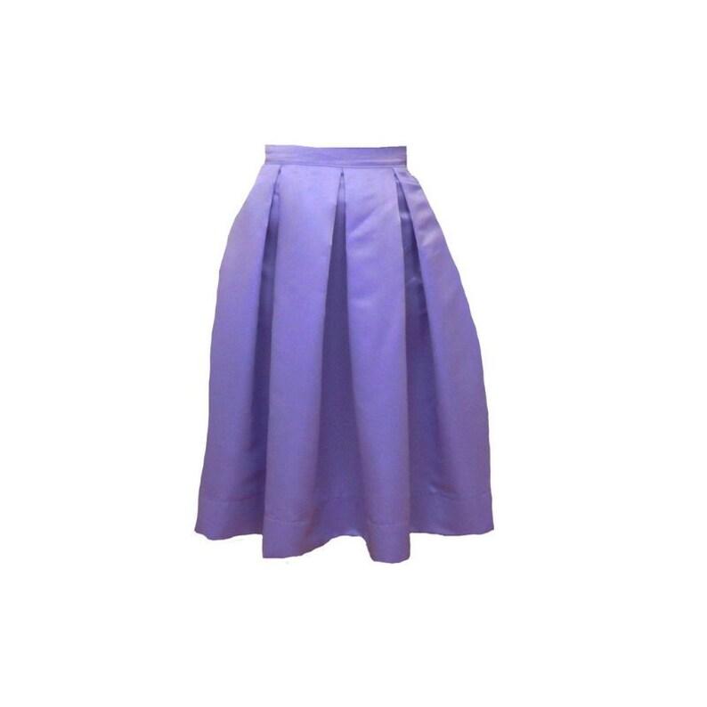 Lavender Midi Skirt Pleated Duchess Satin skirt also in plus image 0