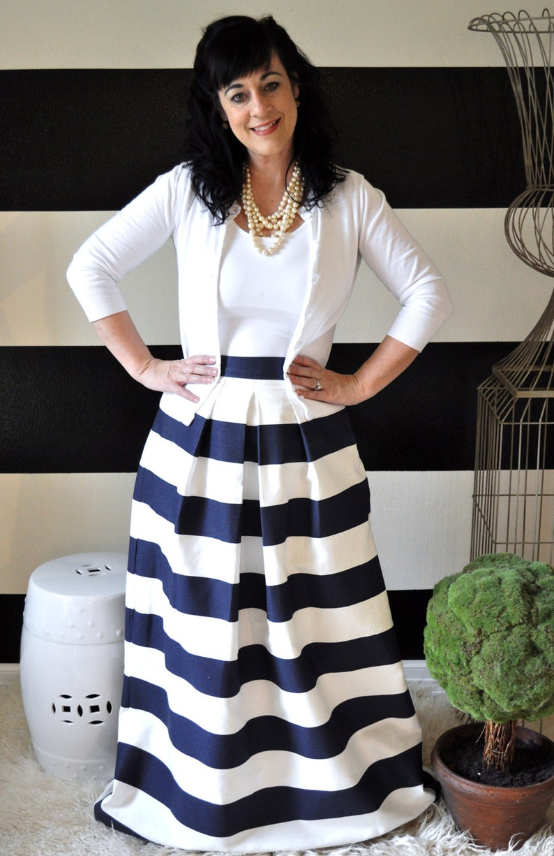 Navy and White Striped Maxi Ball or Midi Skirt full pleated image 0