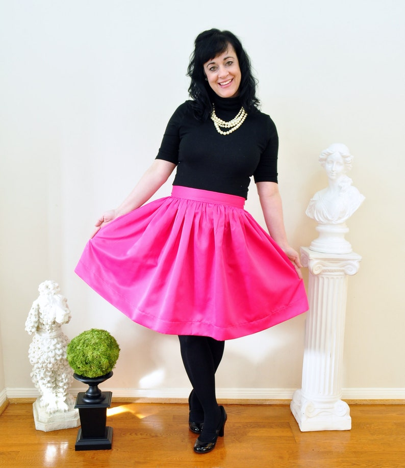 Pink Skirt in Matte Duchess Satin Full gathered skirt with image 0