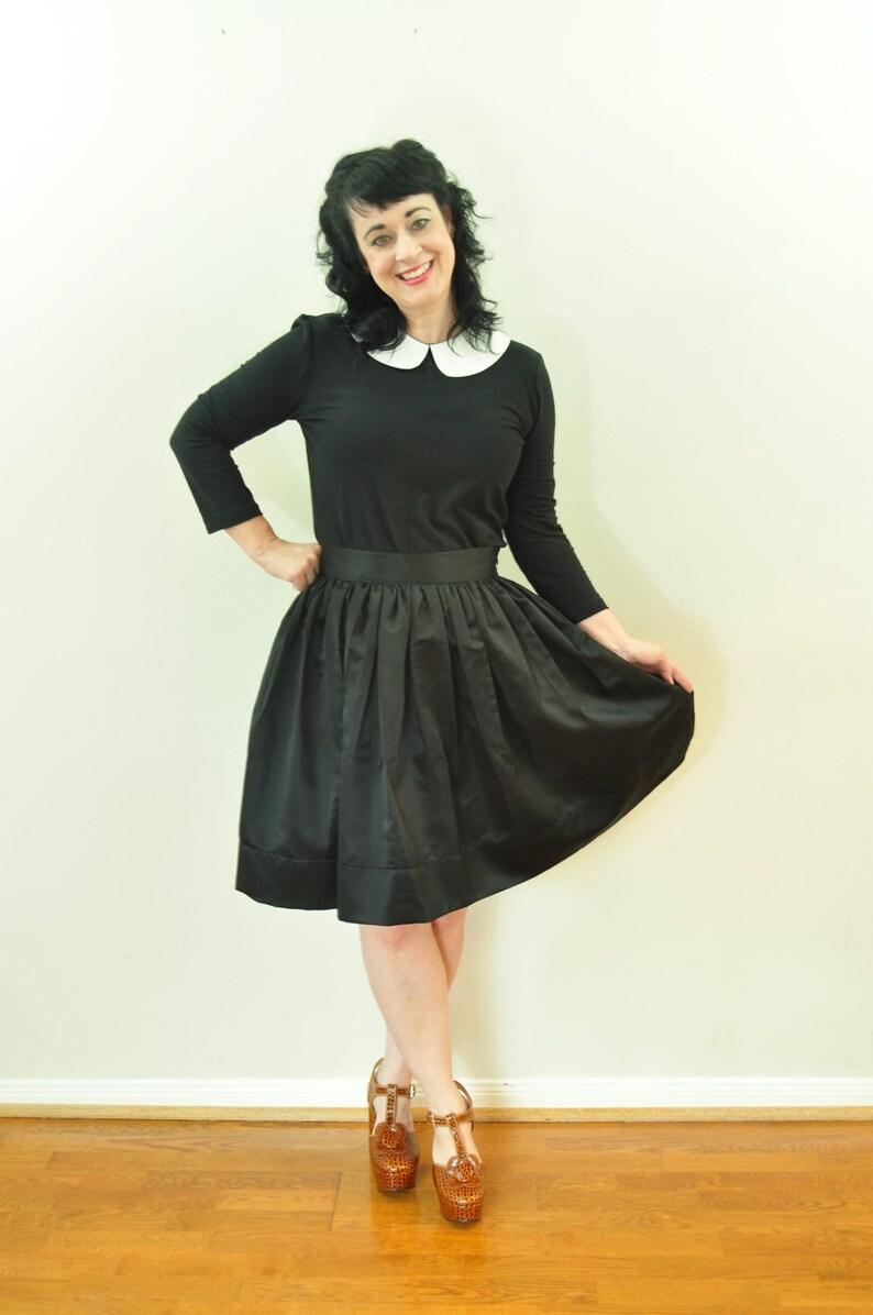 Black full gathered skirt in Matte Duchess satin with full image 0