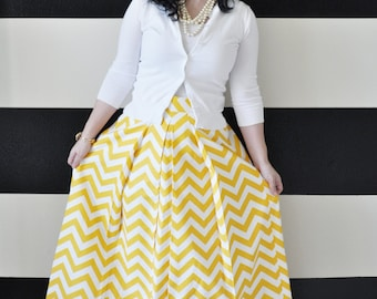 Yellow and White Chevron Striped Custom made Katie Ball Skirt full pleated and gathered long maxi skirt for formal party or bridesmaids