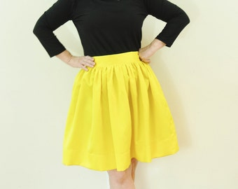 Yellow Satin Anne Skirt full gathered skirt classic retro and vintage 50's and 60's style also in plus size