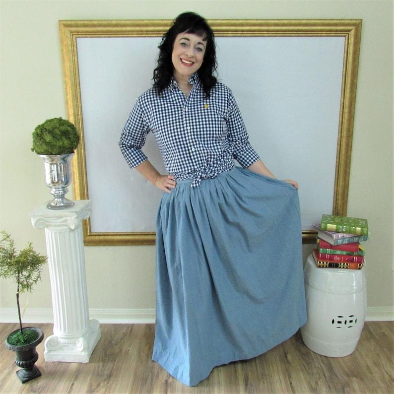 Chambray Blue Midi Skirt Mini Skirt or Maxi Ball skirt  full image 0
