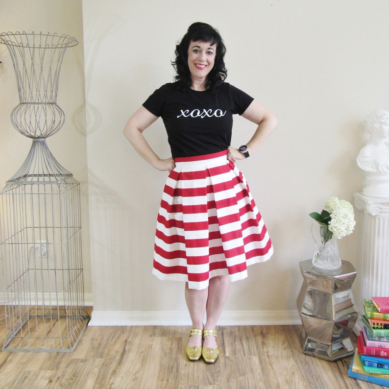 Red and White  striped skirt Pleated Full Knee Length Midi image 0