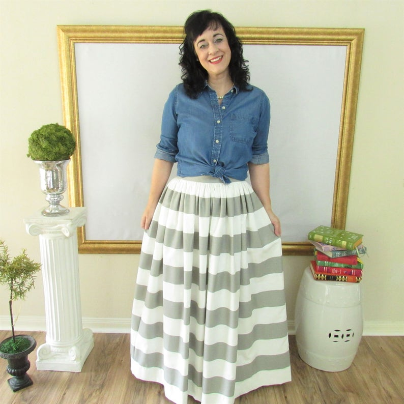 Grey and White Midi Skirt Mini Skirt or Maxi Ball skirt image 0