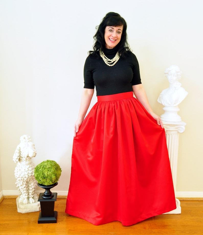 Red Duchess Satin Ball Gown Skirt Custom made long full image 0