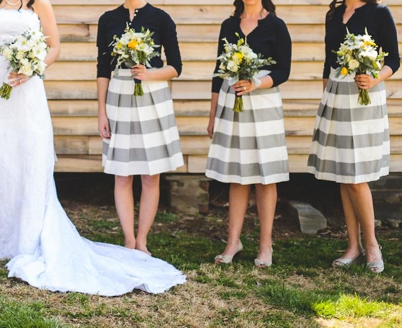 Grey Striped Bridesmaid Skirt Gray skirt made to order